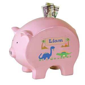 Personalized Pink Piggy Bank with Dinosaurs design