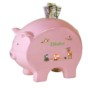 Personalized Pink Piggy Bank with Green Forest Animal design