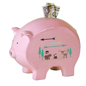 Personalized Pink Piggy Bank with North Woodland Critters design