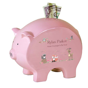 Personalized Pink Piggy Bank - Gray Woodland