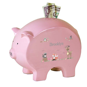 Personalized Pink Piggy Bank with Gray Woodland Critters design