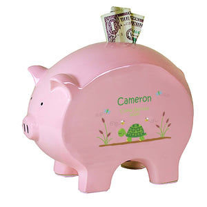 Personalized Pink Piggy Bank - Turtle