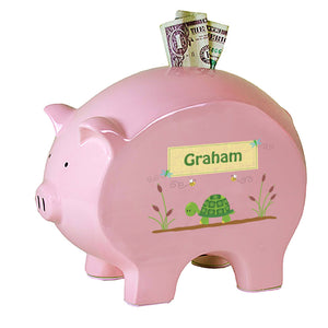 Personalized Pink Piggy Bank with Turtle design