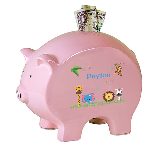 Personalized Pink Piggy Bank with Jungle Animals Boy design