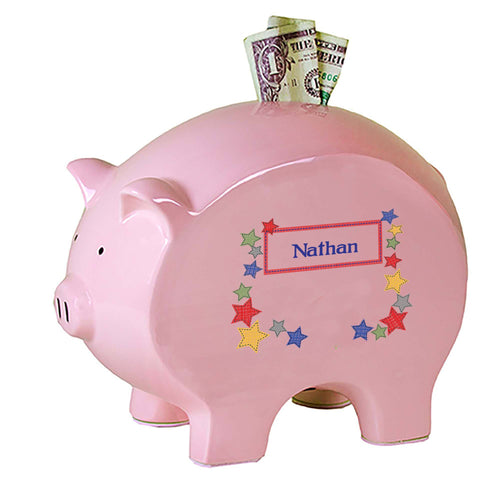 Personalized Pink Piggy Bank with Stitched Stars design