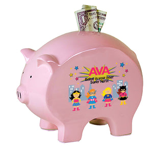 Personalized Pink Piggy Bank - Girl's Superhero
