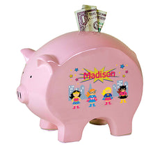 Personalized Pink Piggy Bank with Super Girls design