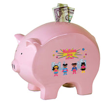 Personalized Pink Piggy Bank - African American Superhero