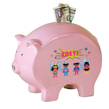Personalized Pink Piggy Bank with Super Girls African American design
