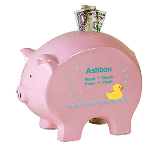 Personalized Pink Piggy Bank - Rubber Ducky