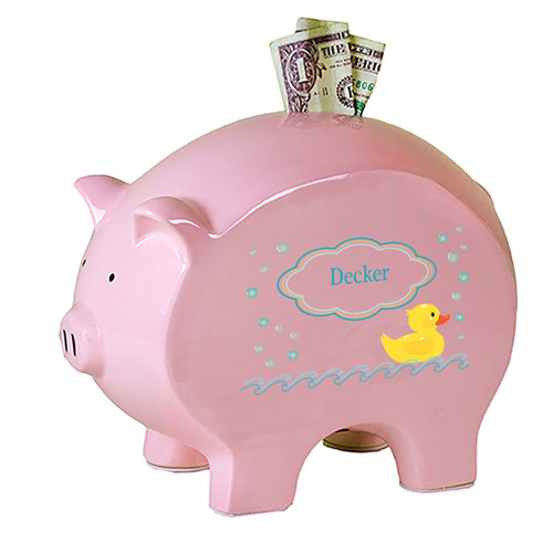 Personalized Pink Piggy Bank with Rubber Ducky design