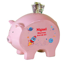 Personalized Pink Piggy Bank - Rocket
