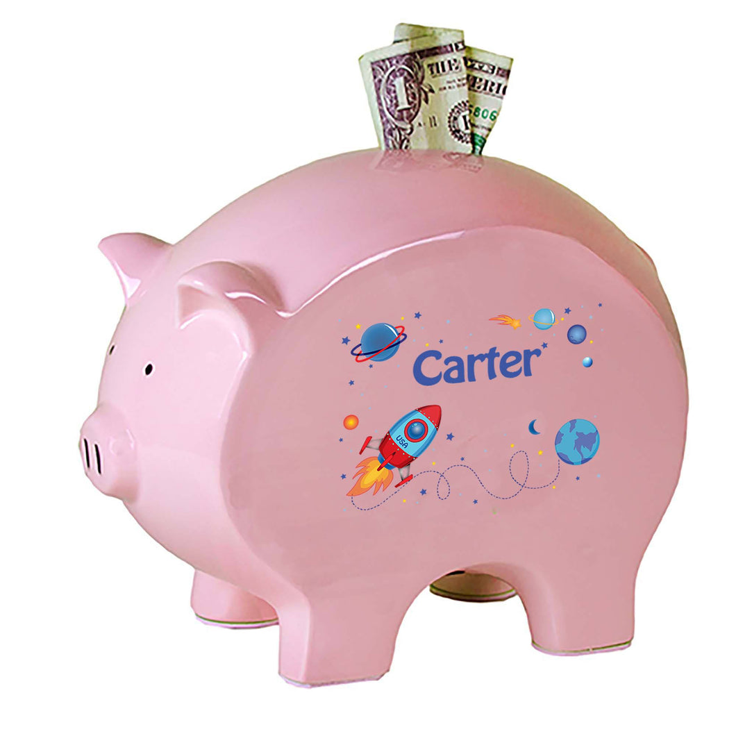 Personalized Pink Piggy Bank with Rocket design