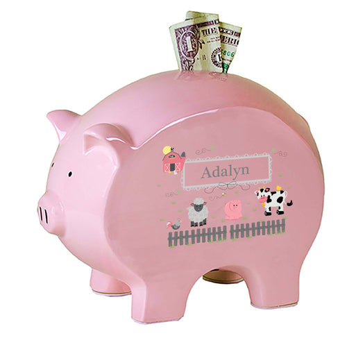 Personalized Pink Piggy Bank with Barnyard Friends Pastel design