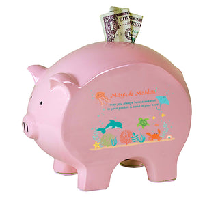 Personalized Pink Piggy Bank - Sea Life