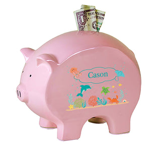 Personalized Pink Piggy Bank with Sea and Marine design
