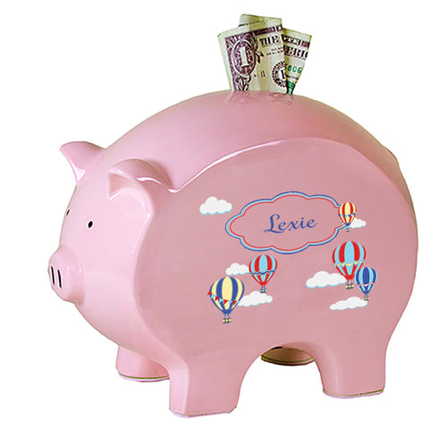 Personalized Pink Piggy Bank with Hot Air Balloon Primary design
