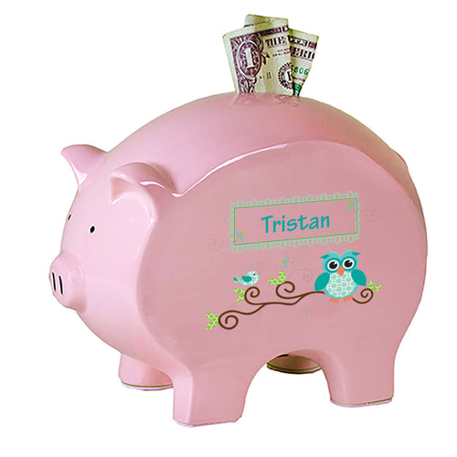 Personalized Pink Piggy Bank with Blue Gingham Owl design