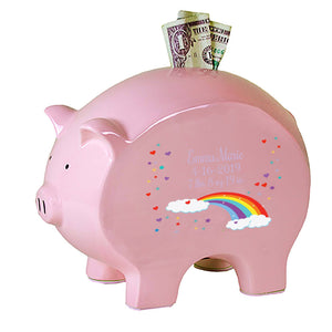 Personalized Pink Piggy Bank - Rainbow