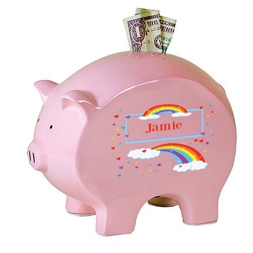 Personalized Pink Piggy Bank with Rainbow design