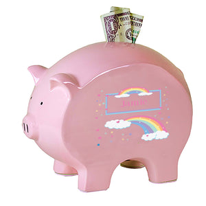 Personalized Pink Piggy Bank with Rainbow Pastel design