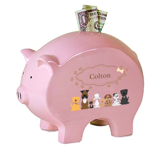 Personalized Pink Piggy Bank with Brown Dogs design