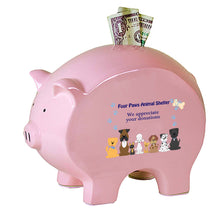 Personalized Pink Piggy Bank - Blue Dogs