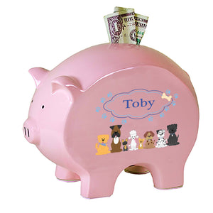 Personalized Pink Piggy Bank with Blue Dogs design