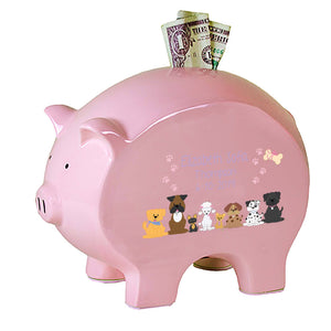 Personalized Pink Piggy Bank - Pink Dogs