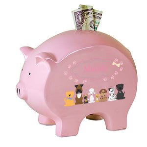 Personalized Pink Piggy Bank with Pink Dog design