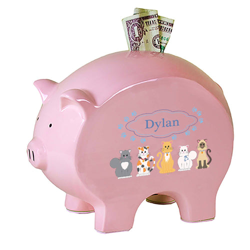 Personalized Pink Piggy Bank with Blue Cats design
