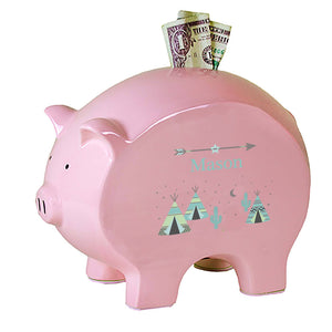 Personalized Pink Piggy Bank with Teepee Aqua Mint design