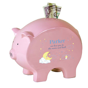 Personalized Pink Piggy Bank - Moon and Stars