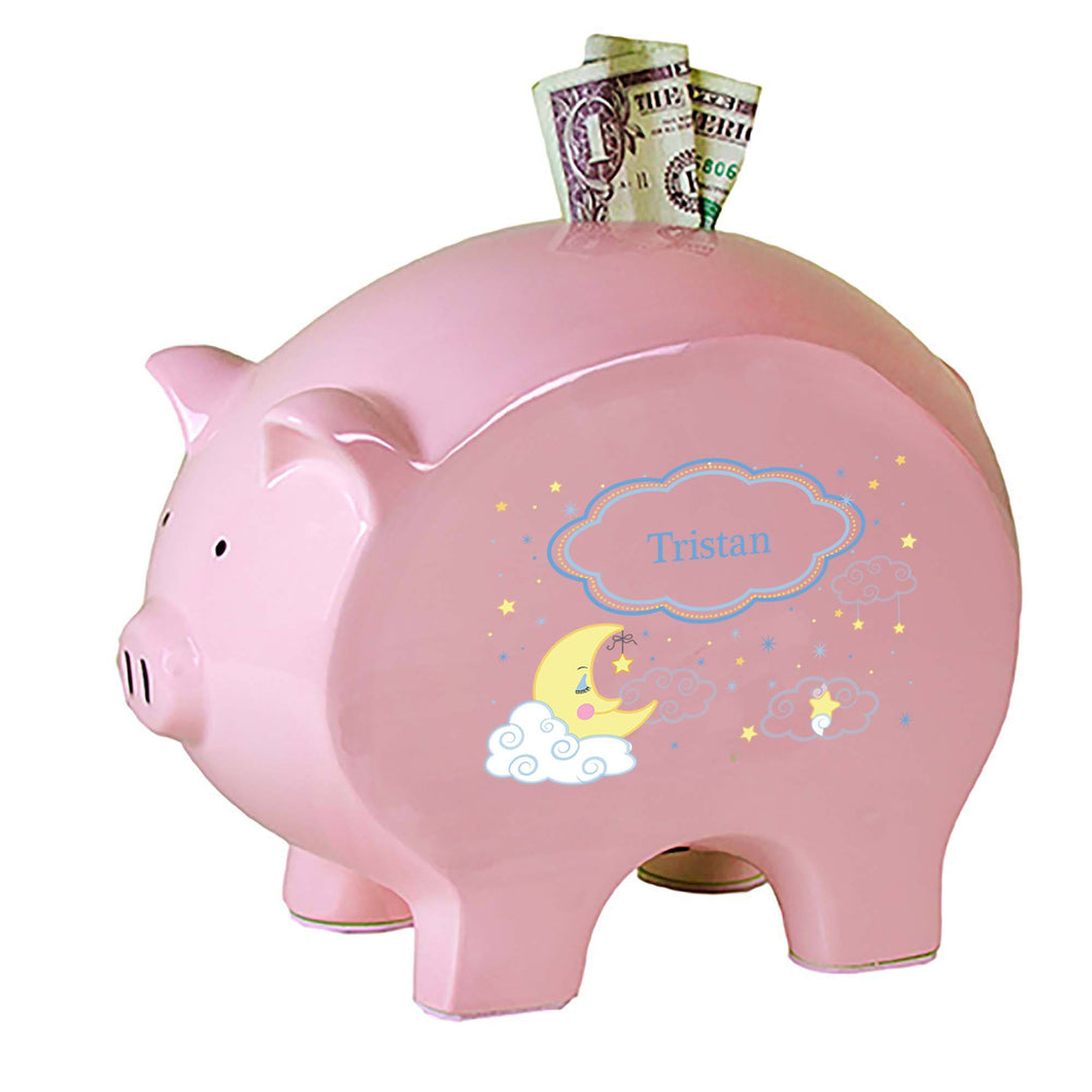 Personalized Pink Piggy Bank with Moon and Stars design