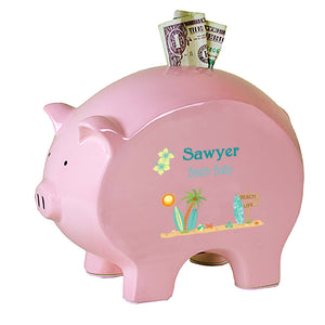 Personalized Surfer Flat Piggy Bank