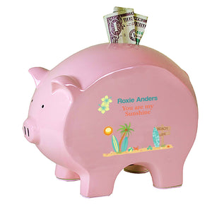Personalized Pink Piggy Bank - Surfs Up