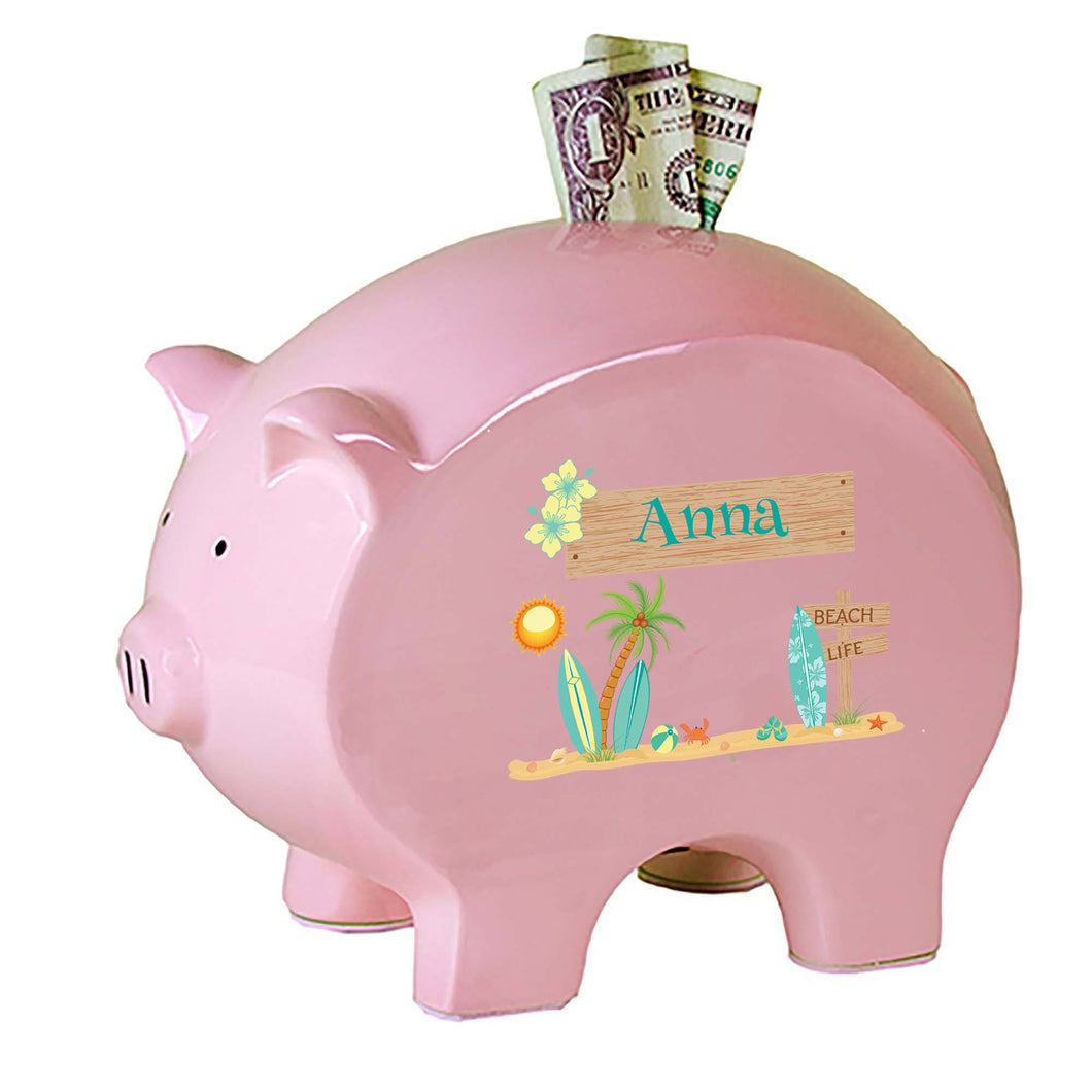 Personalized Pink Piggy Bank with Surf'S Up design