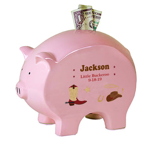 Personalized Pink Piggy Bank - Wild West
