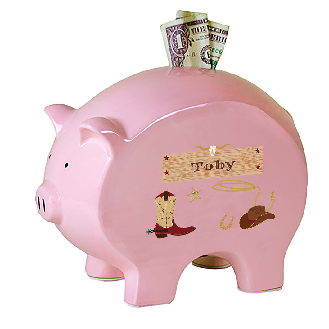 Personalized Pink Piggy Bank with Wild West design
