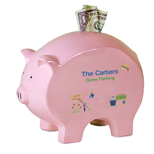 Personalized Fishing Flat Piggy Bank