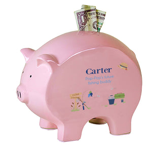 Personalized Pink Piggy Bank - Gone Fishing
