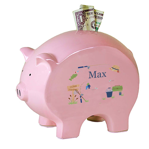 Personalized Pink Piggy Bank with Gone Fishing design