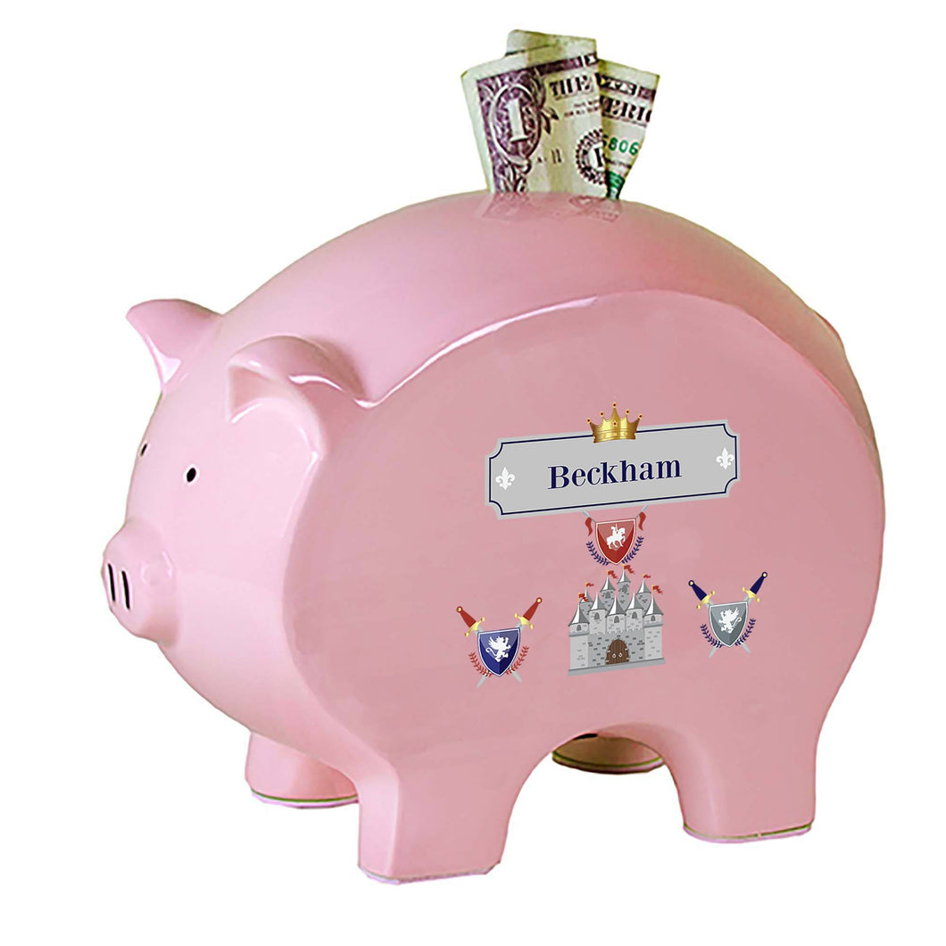 Personalized Pink Piggy Bank with Medieval Castle design