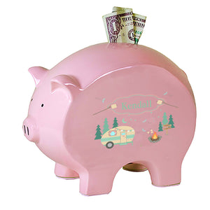 Personalized Pink Piggy Bank with Camp Smores design
