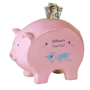 Pink Piggy Bank - Blue World Map