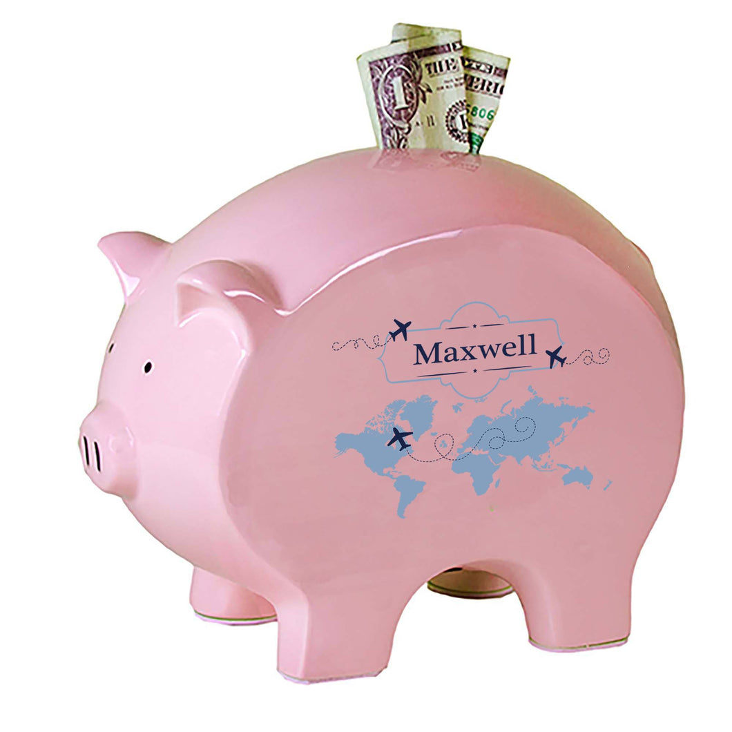 Personalized Pink Piggy Bank with World Map Blue design