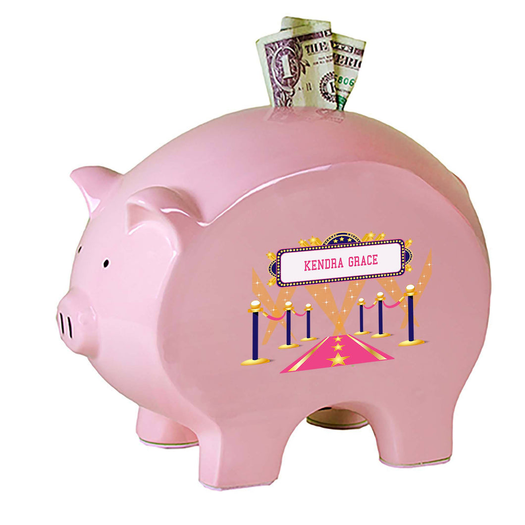Personalized Pink Piggy Bank with A Star Is Born Pink design