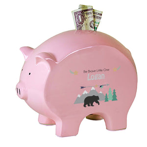 Personalized Black Bear Flat Piggy Bank