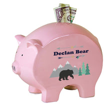 Personalized Pink Piggy Bank with Mountain Bear design