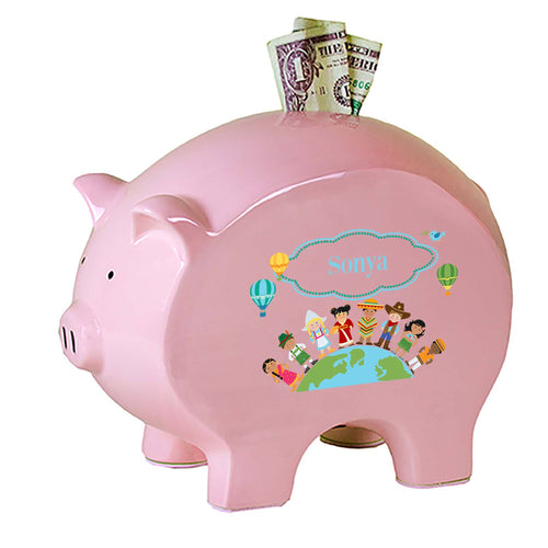 Personalized Pink Piggy Bank with Small World design